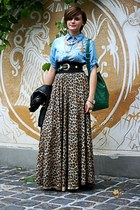 brown leopard print no brand skirt - sky blue denim Zara shirt