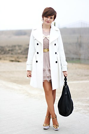 white Topshop coat - gold Miu Miu shoes