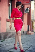 hot pink vintage Thierry Mugler dress - pink glitter River Island shoes