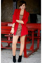 red vintage blazer - black new look boots - brown leopard print H&M dress