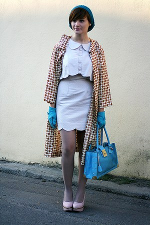 cream asos dress - vintage coat