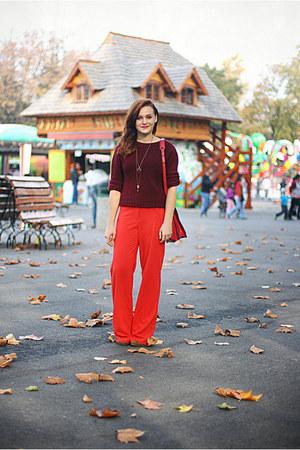 crimson vintage Yves Saint Laurent sweater - red wide legged River Island pants