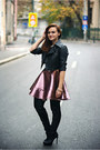 Black-over-the-knee-new-look-boots-pink-metallic-topshop-dress