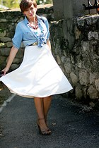 white silk vintage skirt - beige Zara shoes - sky blue Zara shirt