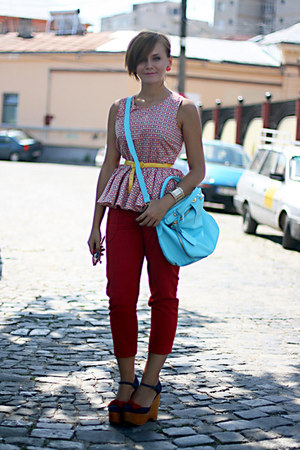 red printed asos top - navy wedge Jeffrey Campbell shoes - light blue OASAP bag
