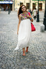 White-chiffon-sheinside-dress-hot-pink-suede-oasap-bag