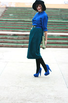 blue suede asos shoes - forest green vintage skirt - blue silk vintage blouse