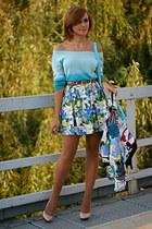 sky blue River Island skirt - nude Zara shoes - white vintage escada jacket