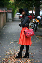 orange midi River Island skirt - black ankle Zara boots - black floppy H&M hat