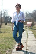 blue Levis jeans - brick red lanvin scarf - purse - navy Jeffrey Campbell sandal