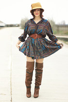 brown Stradivarius boots - vintage dress