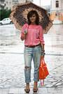 Nude-zara-shoes-blue-ripped-topshop-jeans-bubble-gum-vintage-blouse