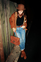 blue Levis jeans - brown Zara shoes - brown vintage bag - brown vintage jacket -