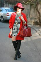black random brand boots - silk Zara dress - white vintage Pierre Cardin coat -