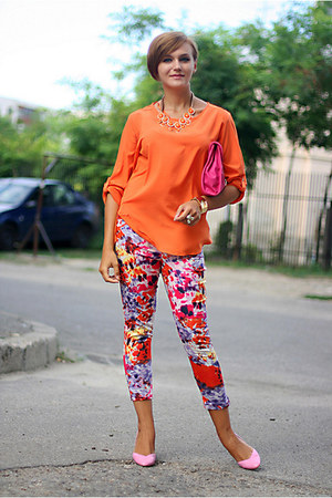 hot pink printed Primark pants - bubble gum Stradivarius shoes
