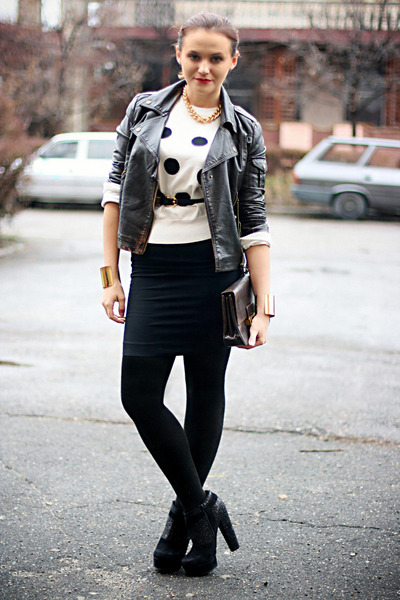 black glittery Topshop boots - white polka dots MinkPink sweater