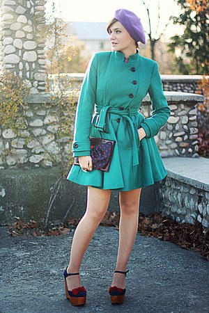 teal asos coat - blue Jeffrey Campbell shoes - vintage accessories