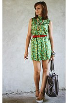 chartreuse vintage dress - Miu Miu shoes - red vintage escada belt