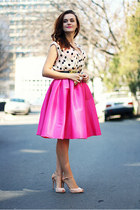 hot pink midi Sheinside skirt - nude Zara shoes - cream polka dots Zara shirt