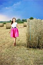 hot pink midi Sheinside skirt - tawny Zara shoes