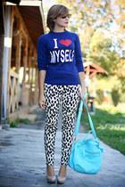 neutral Zara shoes - sky blue OASAP bag - white animal print H&M pants