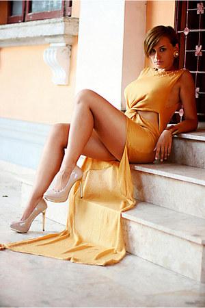 beige Zara shoes - mustard beaded handmade dress - gold Stradivarius bracelet