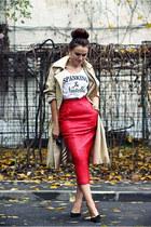 red leather vintage skirt