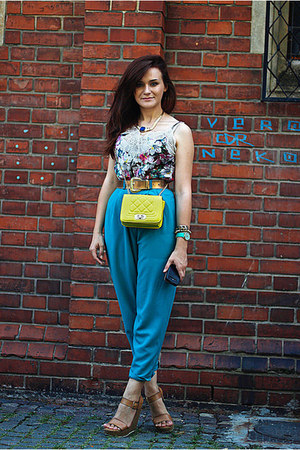 teal vintage pants - tawny wedge Stradivarius shoes