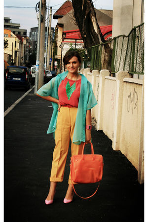 yellow vintage pants - pink custom made blouse - pink Stradivarius shoes - orang