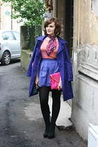 black Forever 21 shoes - deep purple Bershka coat - hot pink asos bag - bubble g