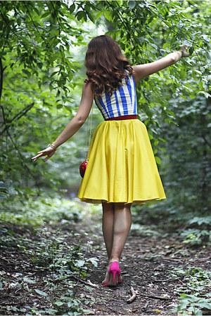hot pink Zara shoes - yellow handmade dress - red apple shaped BLANCO bag