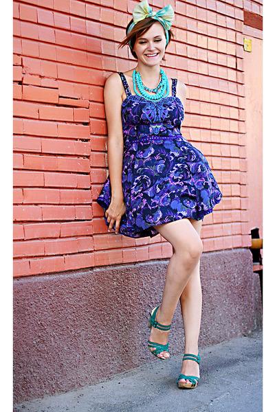purple free people dress - teal Zara shoes - vintage scarf