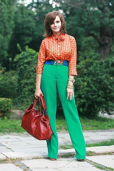 orange vintage shirt - brick red Mango bag - green Zara pants - blue vintage bel