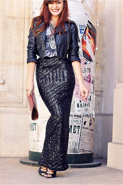 black sequins River Island skirt - black leather asos jacket