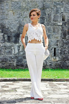 white Mango pants - white lace Sheinside top