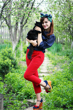 red wedge Jeffrey Campbell shoes - navy vintage shirt - red vintage pants