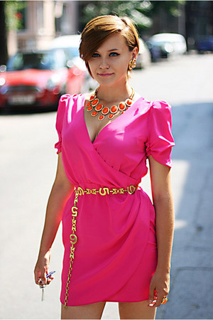 bubble gum asos dress - gold vintage accessories