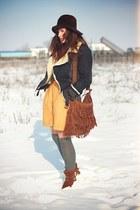 Zara boots - Mango jacket - mustard vintage shorts - Michael Kors blouse