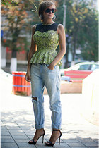 chartreuse peplum Primark top - light blue ripped Topshop jeans
