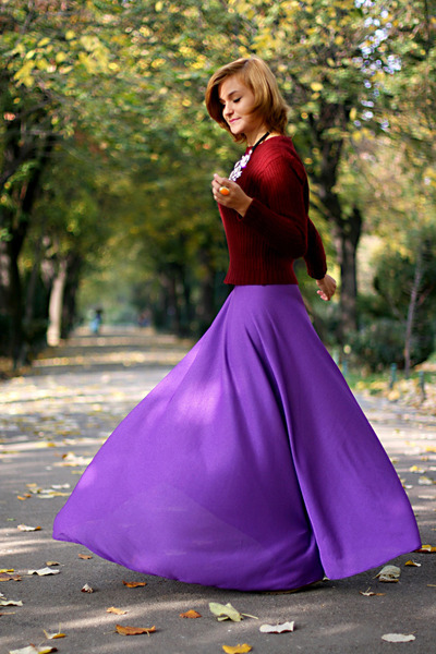 violet handmade skirt - crimson vintage YSL sweater
