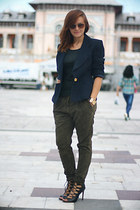 christian dior vintage blazer - Zara sandals - Zara pants