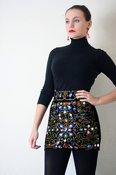 black embellished OASAP skirt