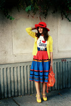 vintage skirt - yellow Zara cardigan - red vintage hat - yellow random brand sho