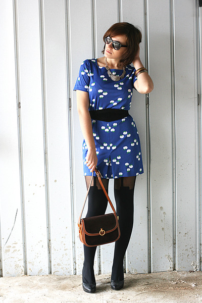 Blue Vintage Dresses Black Asos Tights Brown Vintage ...