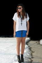 black Jeffrey Campbell boots - vintage sweater - blue Primark skirt - vintage gl