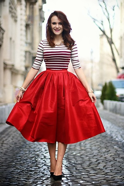 red midi Choies skirt - black pointy Zara shoes - crimson cropped Bershka top