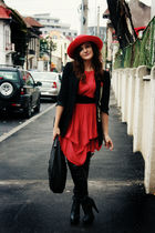 red Primark dress - black Zara blazer - black random brand boots - red vintage h