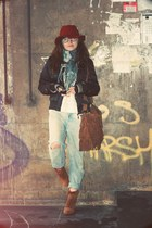 tawny Zara boots - light blue ripped Topshop jeans - white vintage jumper