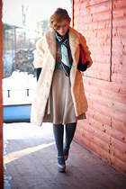 off white faux fur vintage coat - heather gray mary janes Topshop shoes