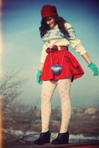 red vintage skirt - white vintage sweater - black Jeffrey Campbell wedges - blue